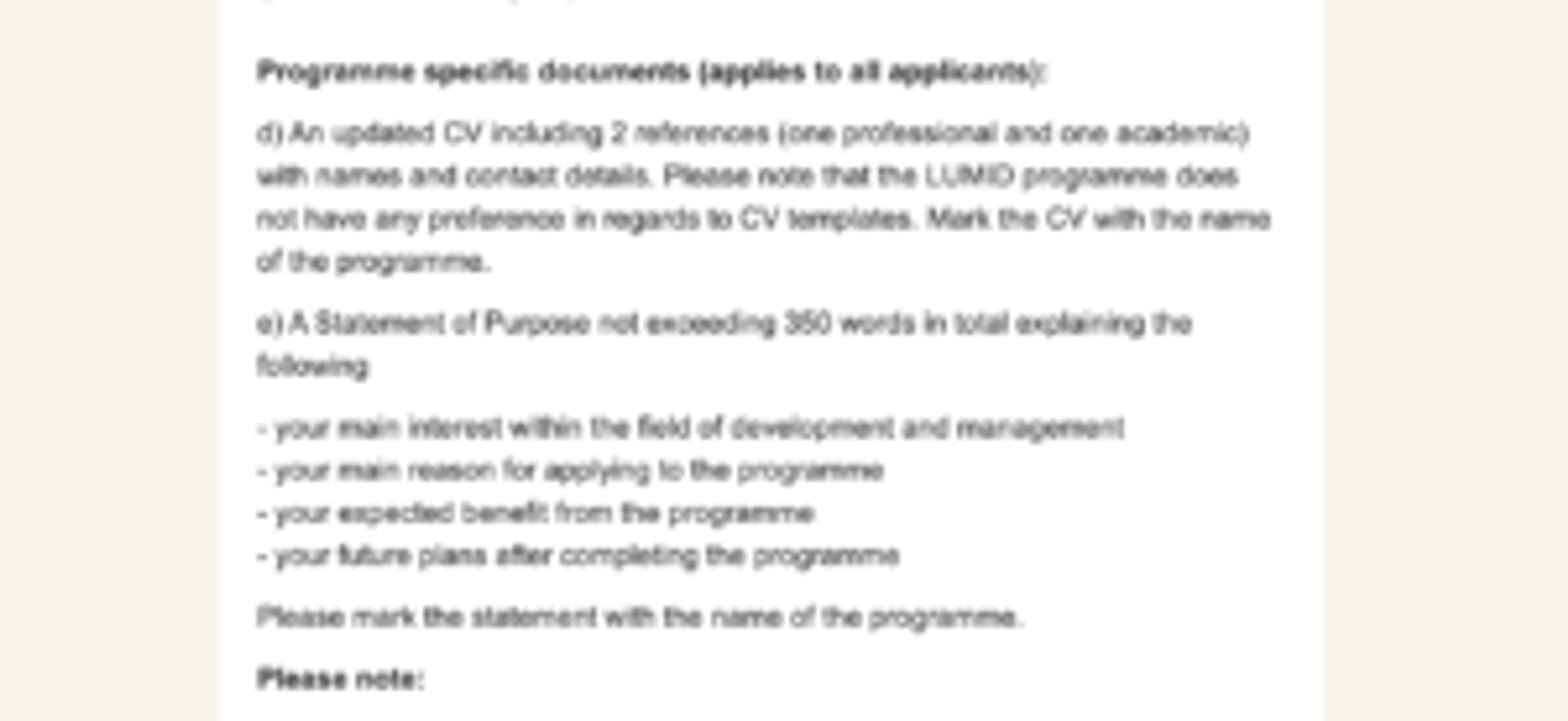 Screenshot of questions listed on a personal statement form.
