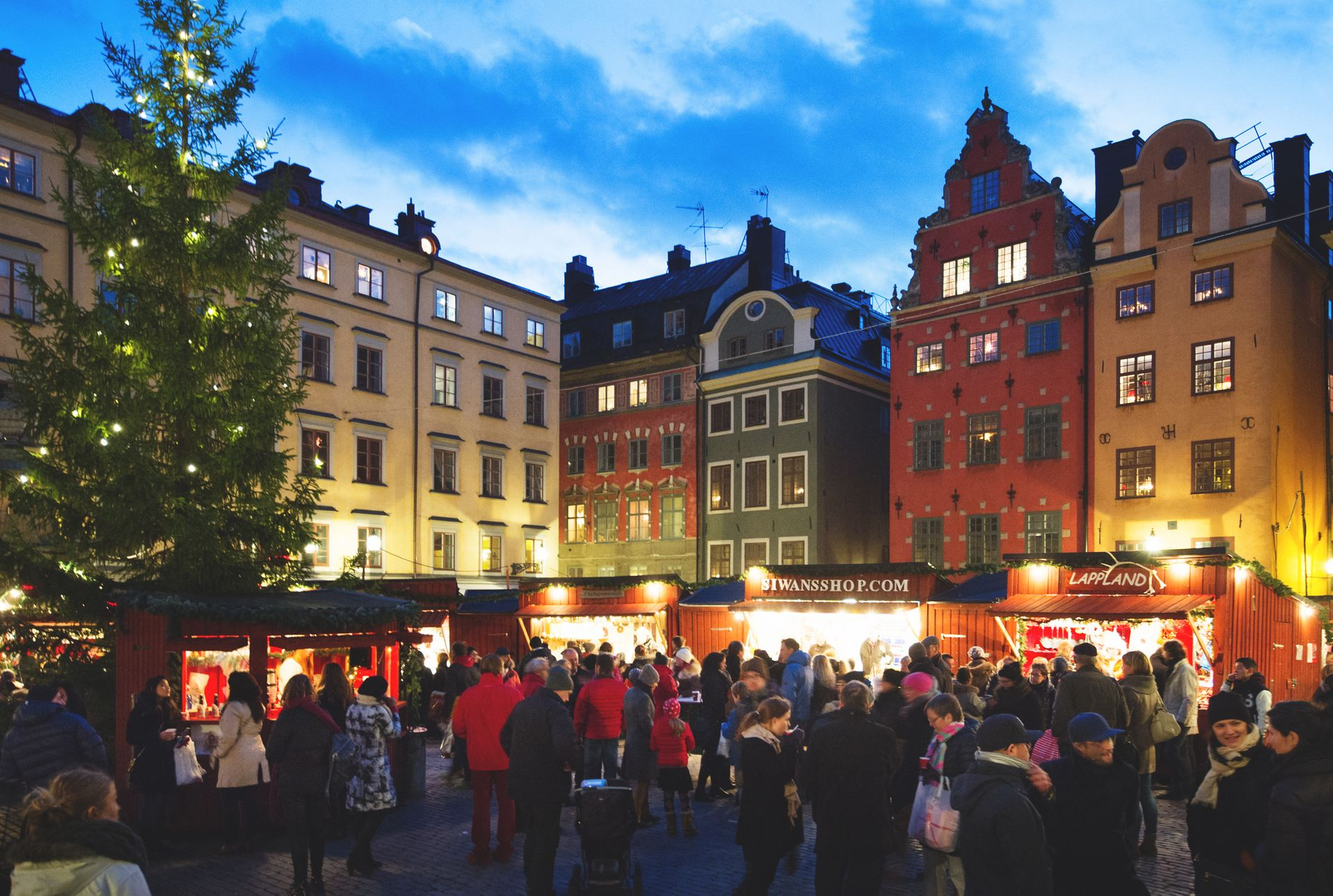 A Christmas market in Stockholm's Old Town.