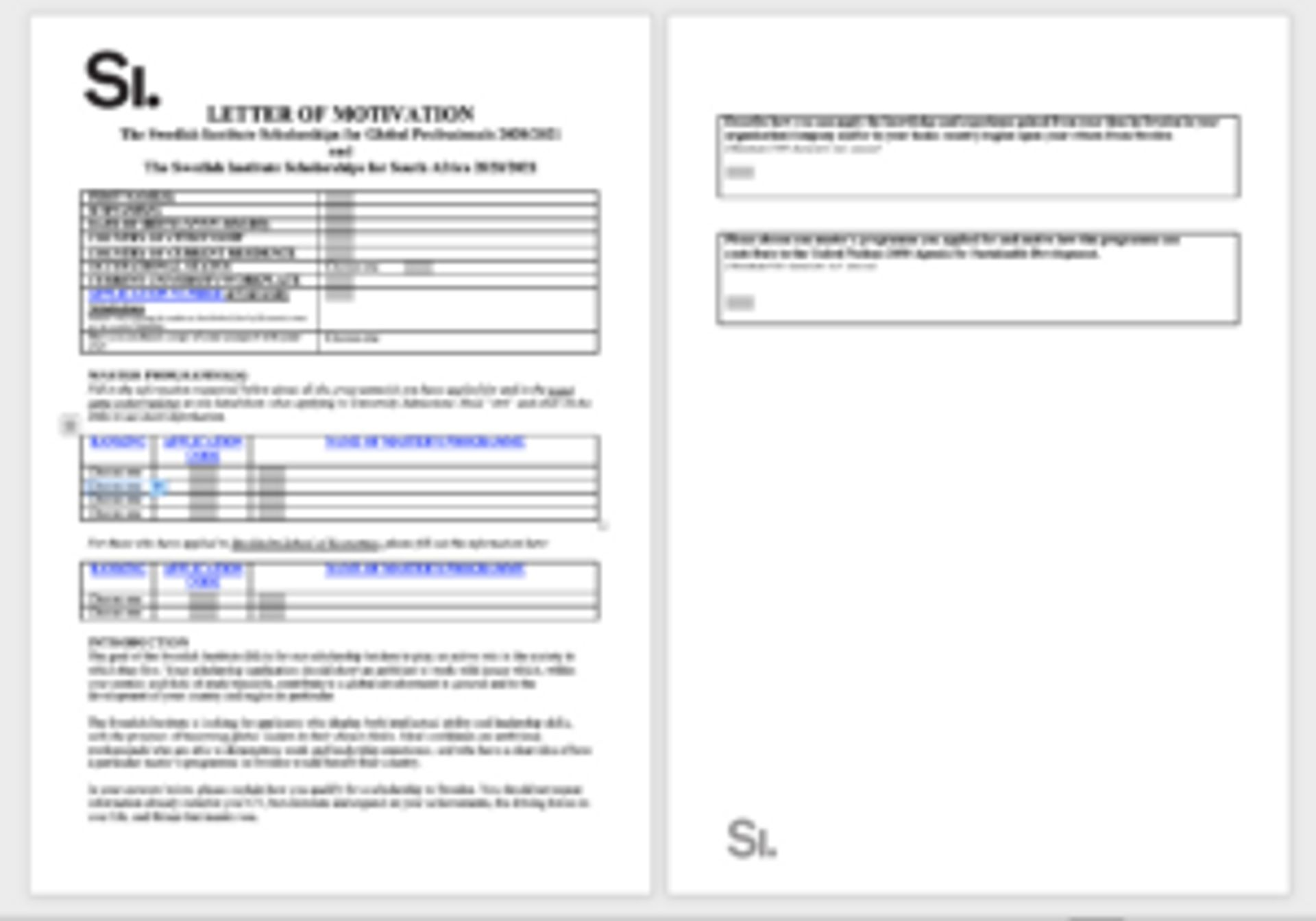 Screenshot of motivation letter form.