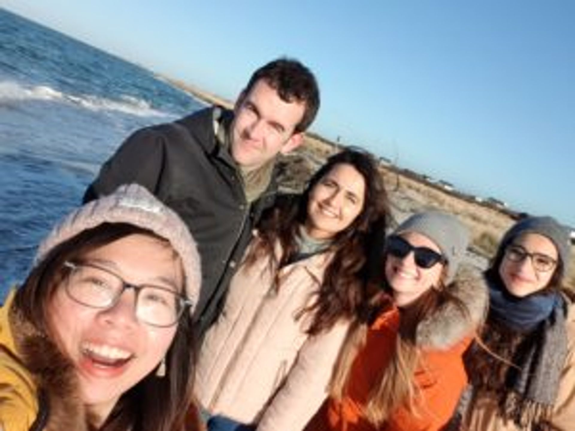 Nguyen and friends at the beach.