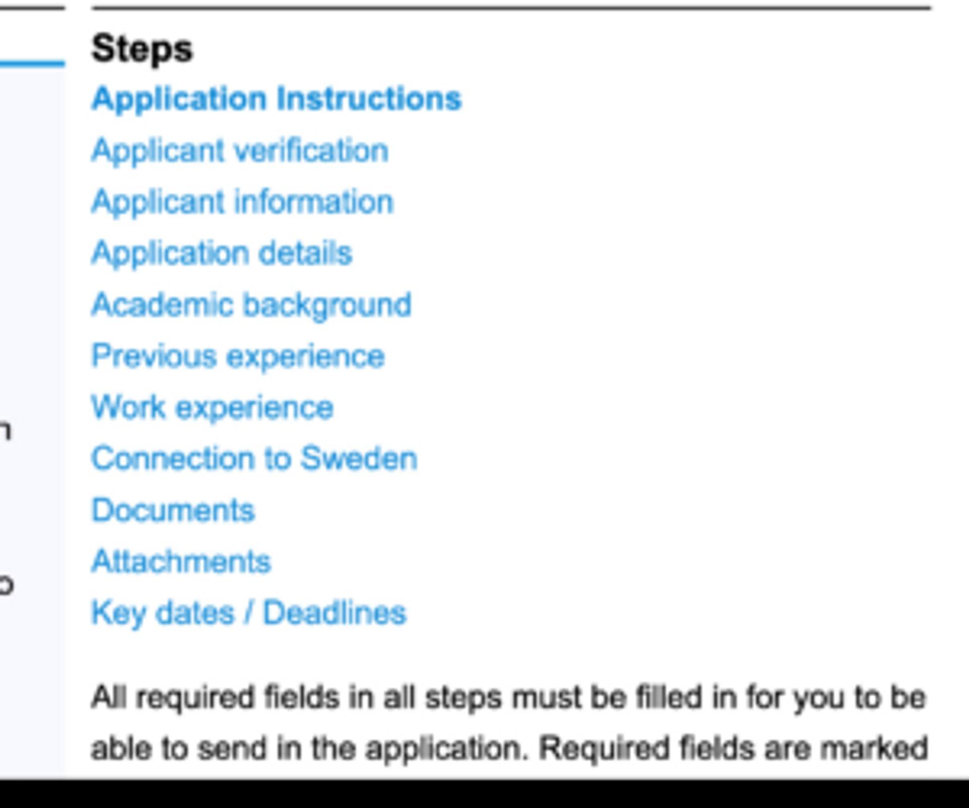 Screenshot showing application instructions.
