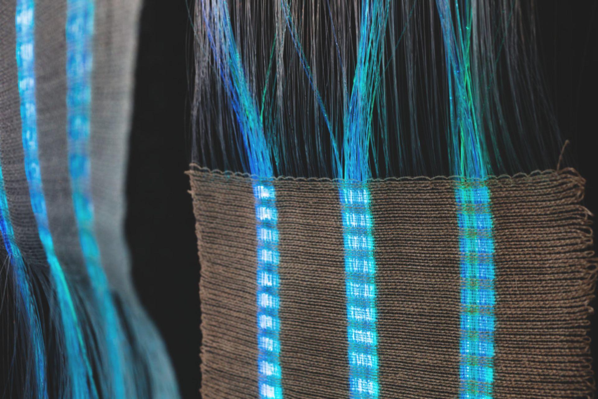 Handwoven optic fibres.