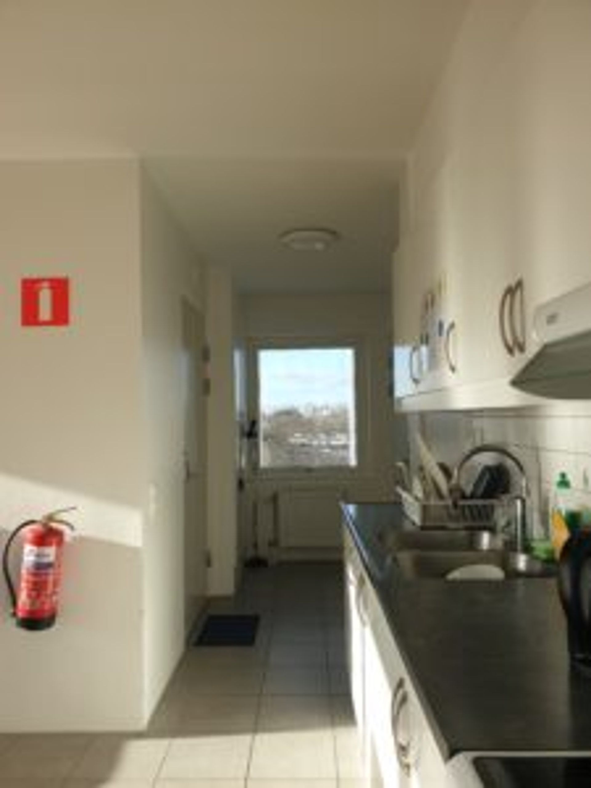 A shared kitchen in student accommodation.