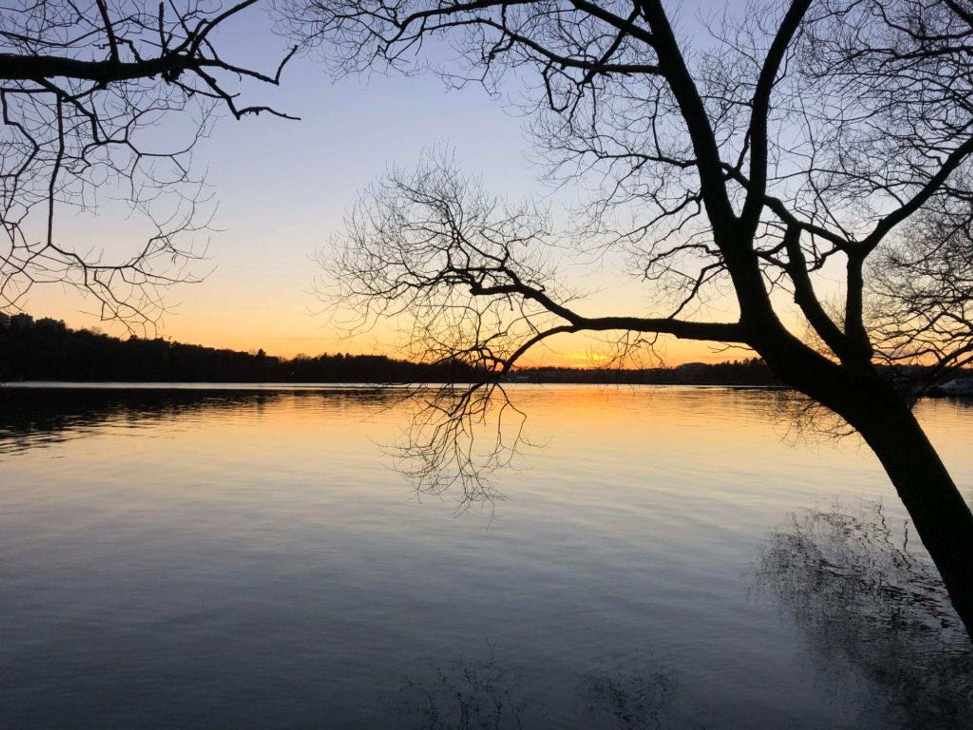 A lake at sunset.
