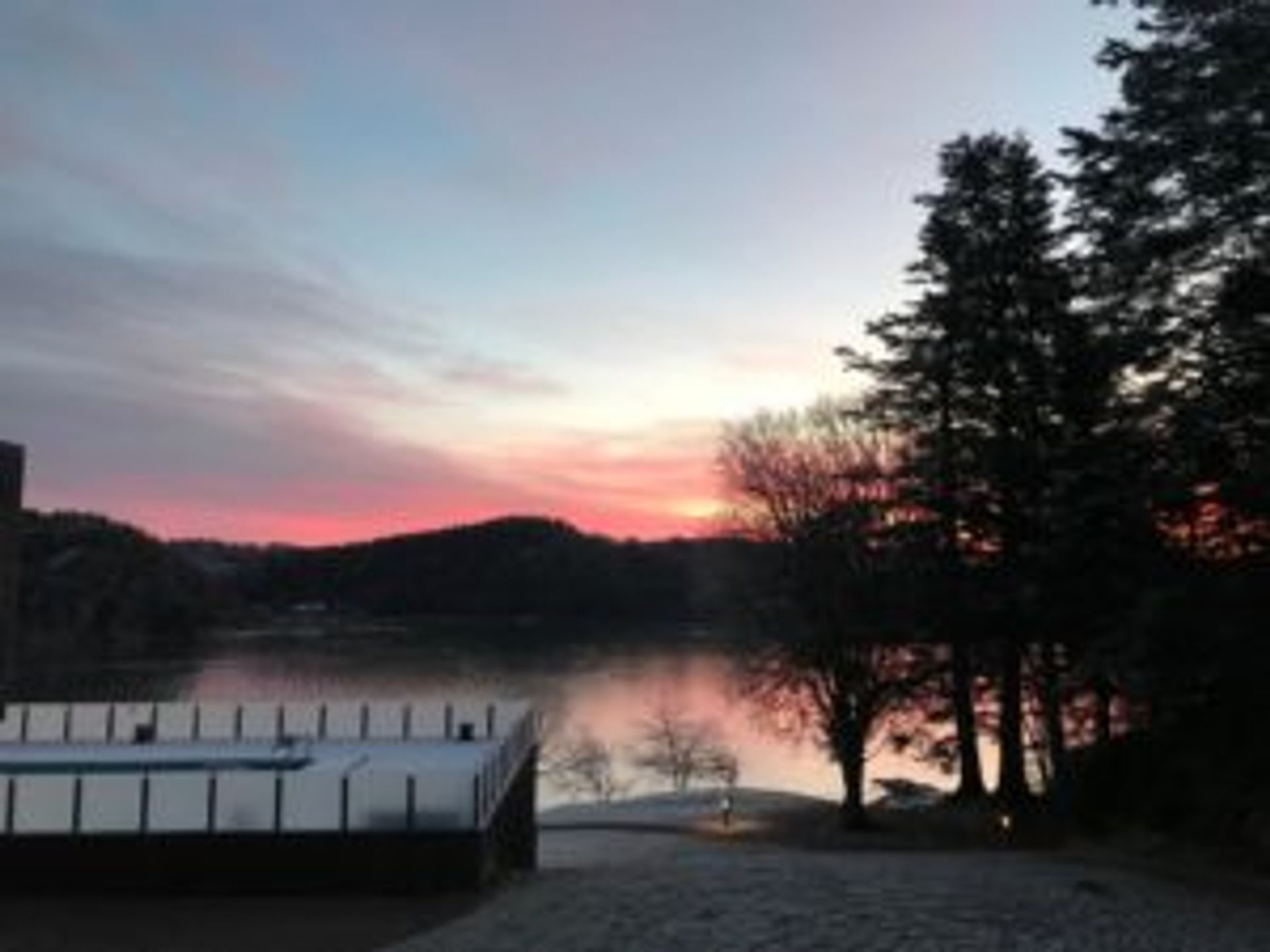 A pink sunrise.