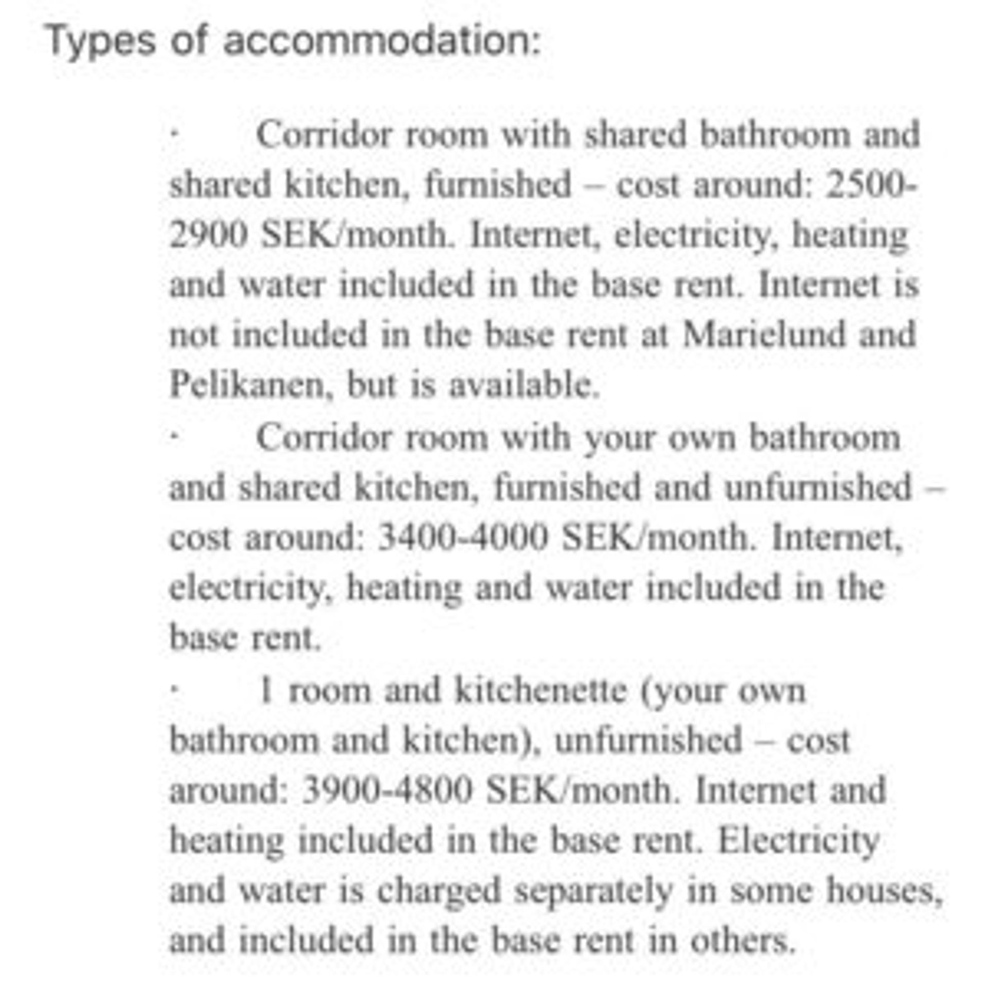 Email detailing accommodation options.
