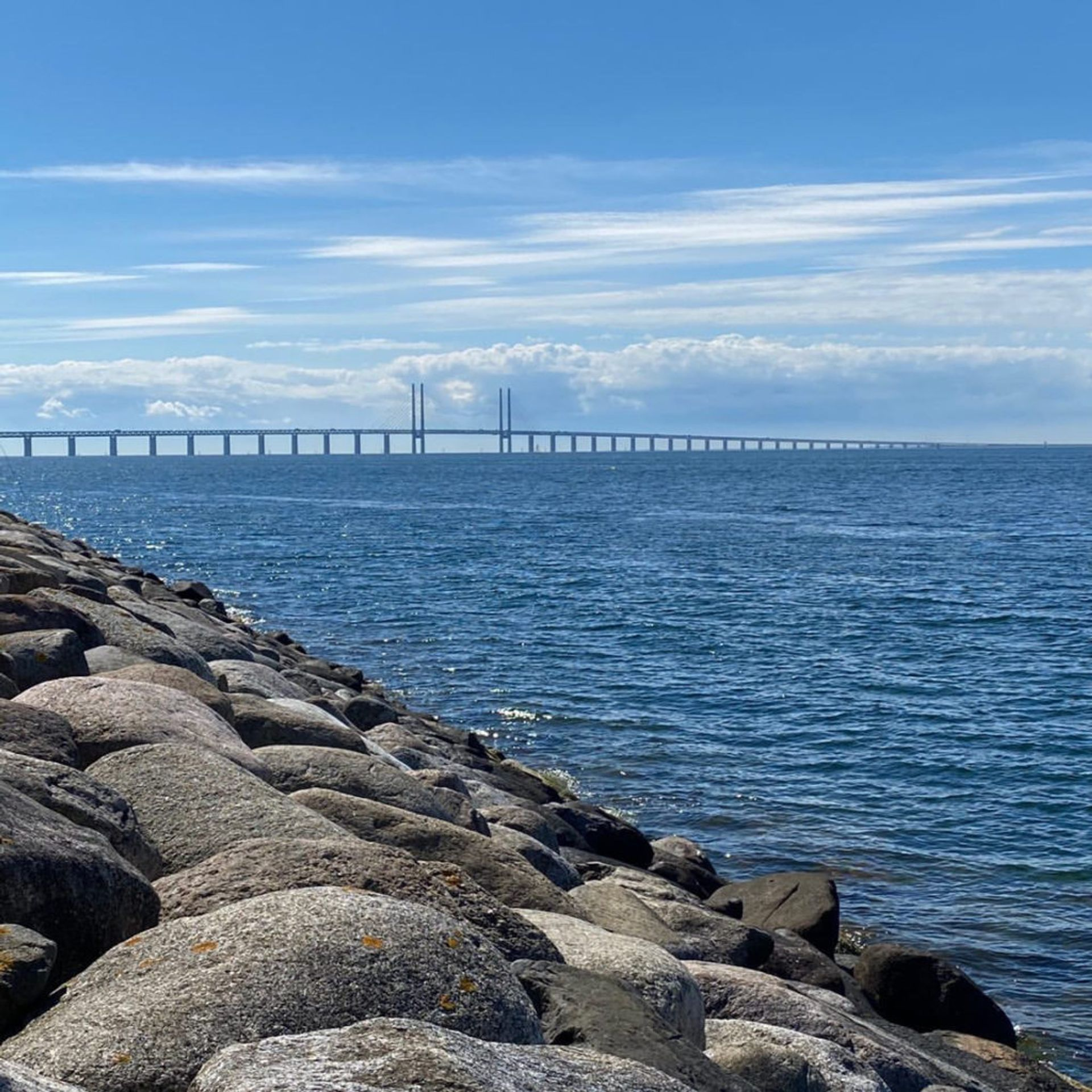 The Öresund bridge on a sunny day.
