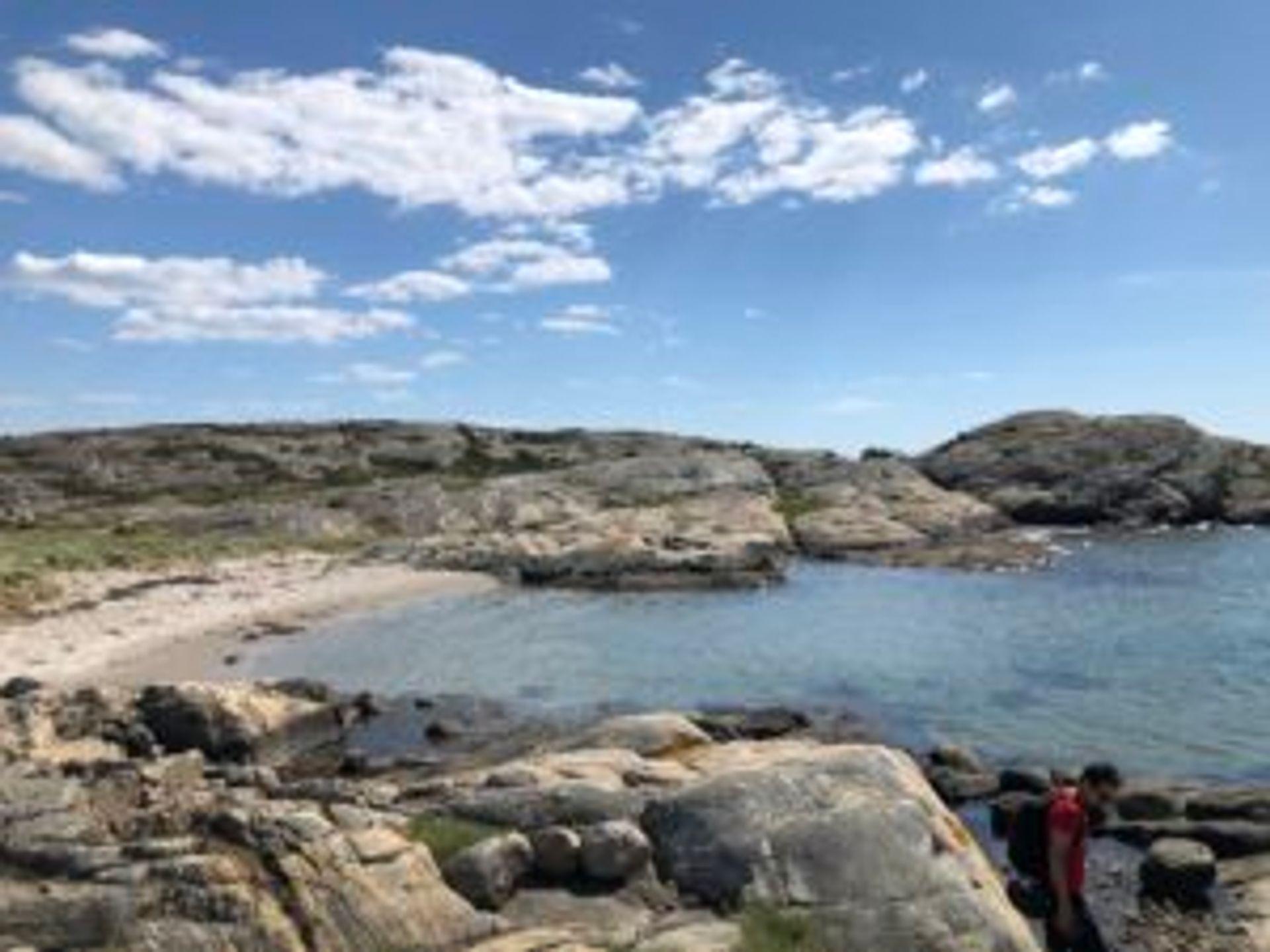 A rocky beach on the island.