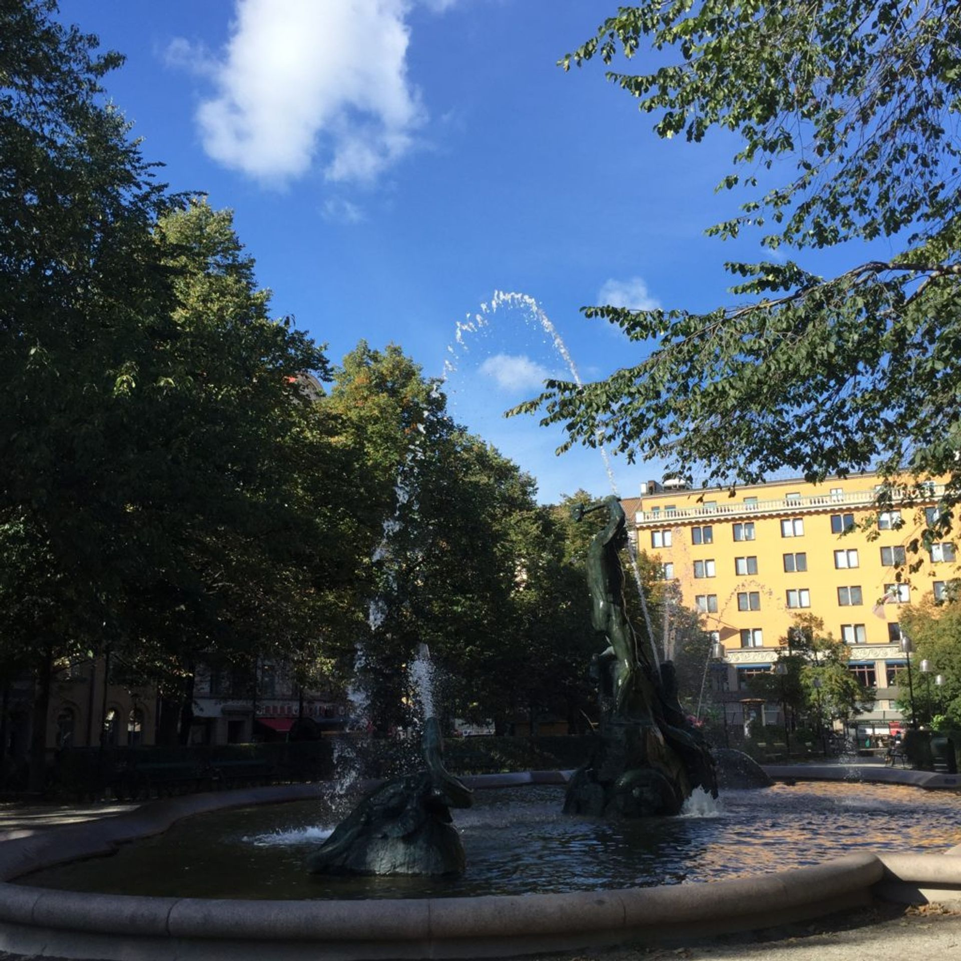 A large fountain in Stockholm.