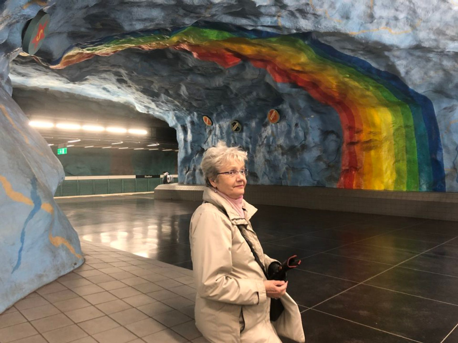 Tiiu, our guide in a Stockholm metro station.
