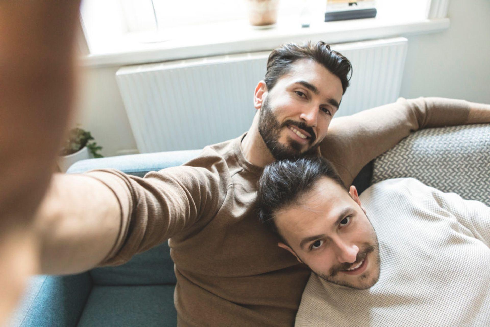Couple taking a selfie.