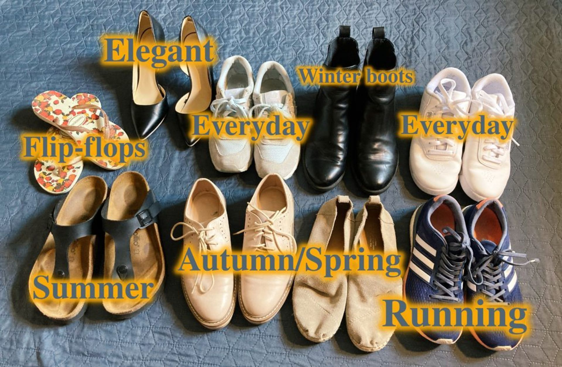 A mixture of different shoes for different occasions.