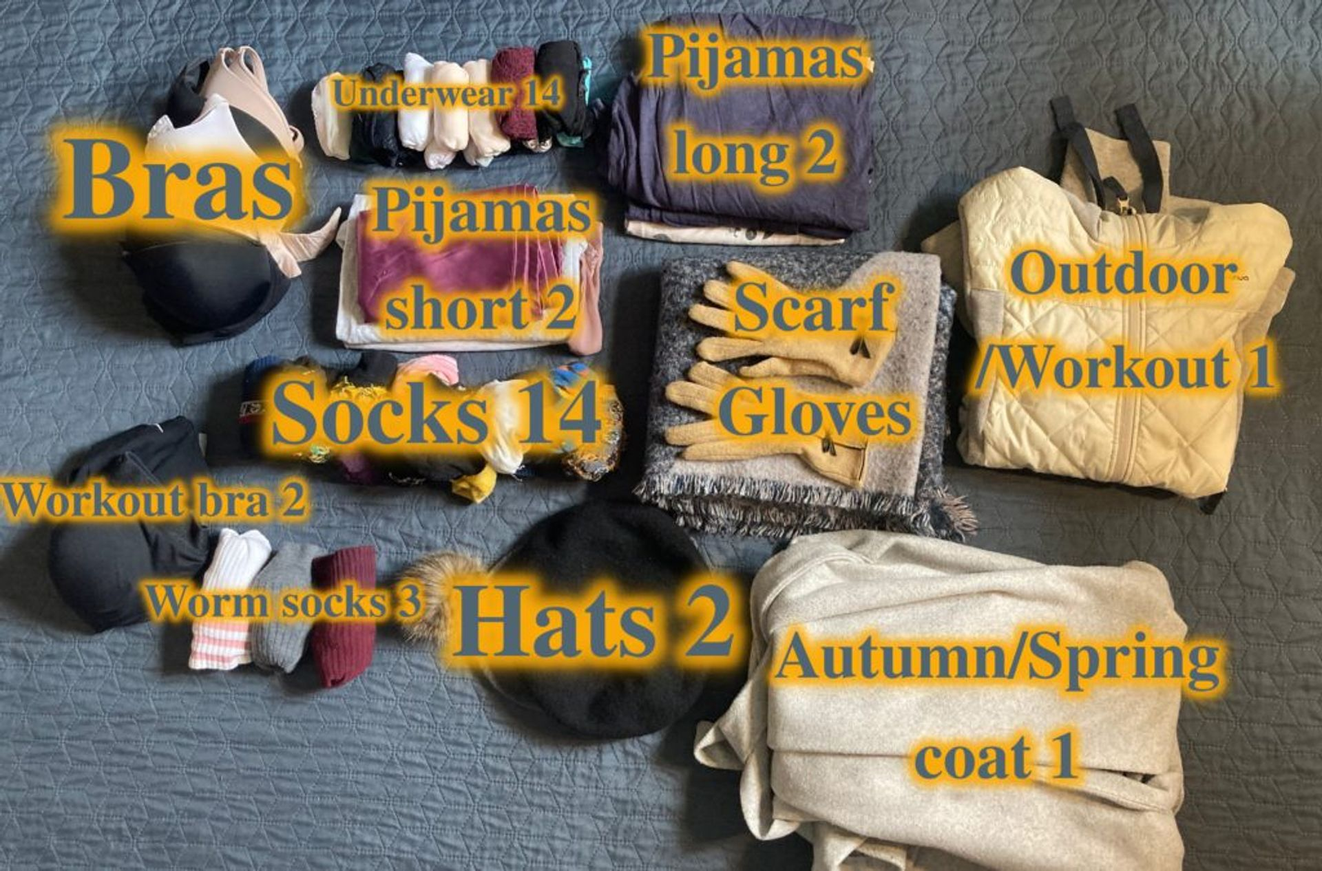 A mixture of clothing including socks, hats, scarves, gloves and underwear.