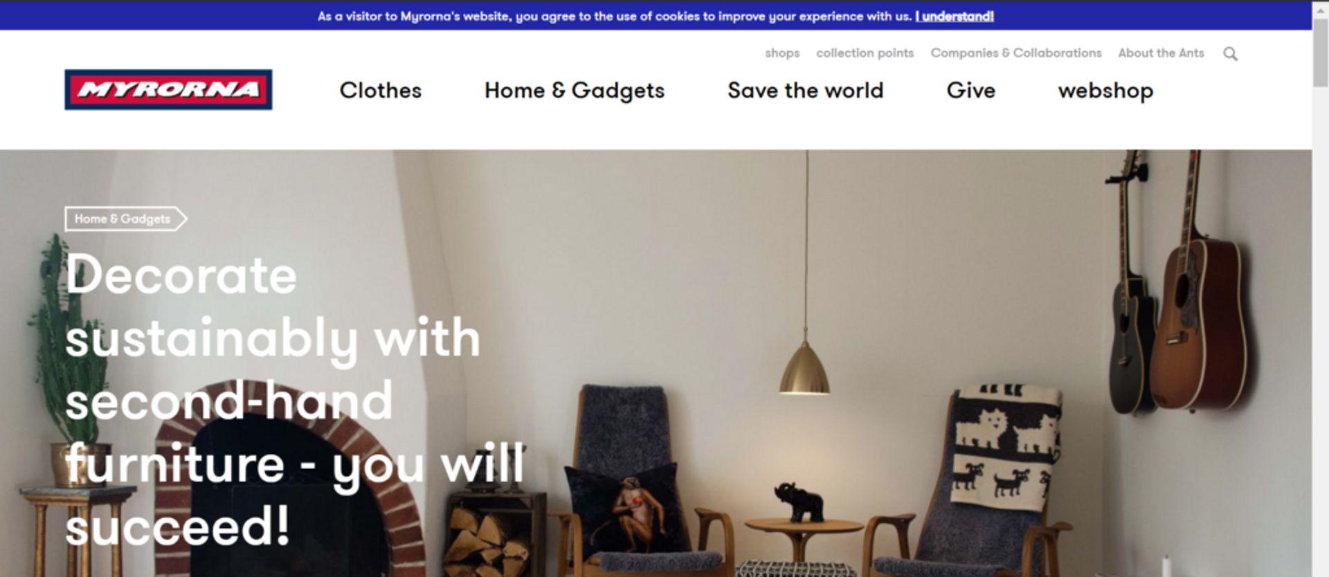 Frontpage of Myrorna's website.