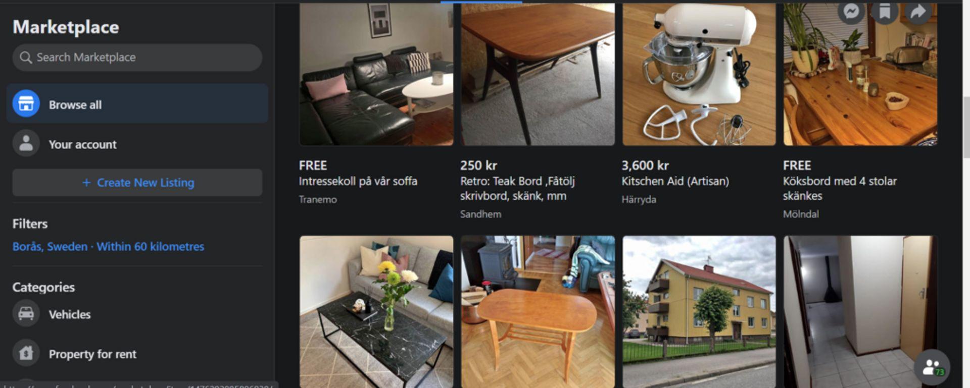 Screenshot of Facebook Marketplace Borås.