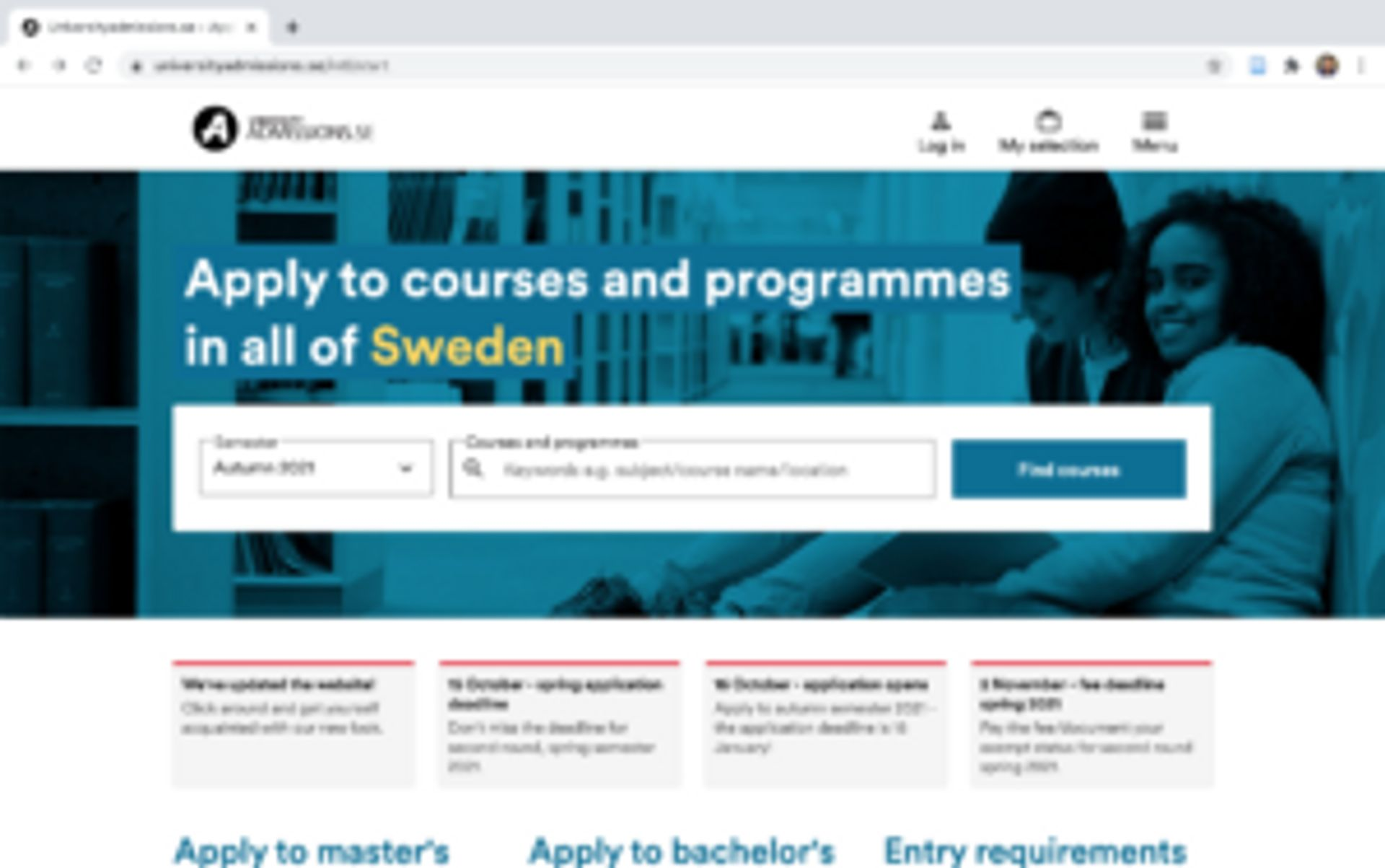 The University Admissions startpage. Caption reads 'Apply to courses and programmes in all of Sweden'.