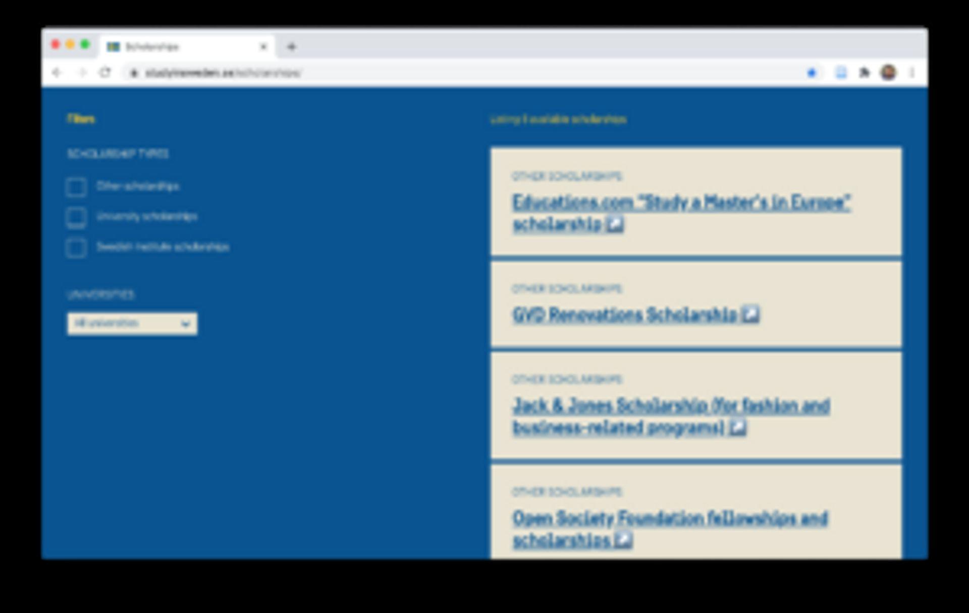 Study in Sweden scholarship database.