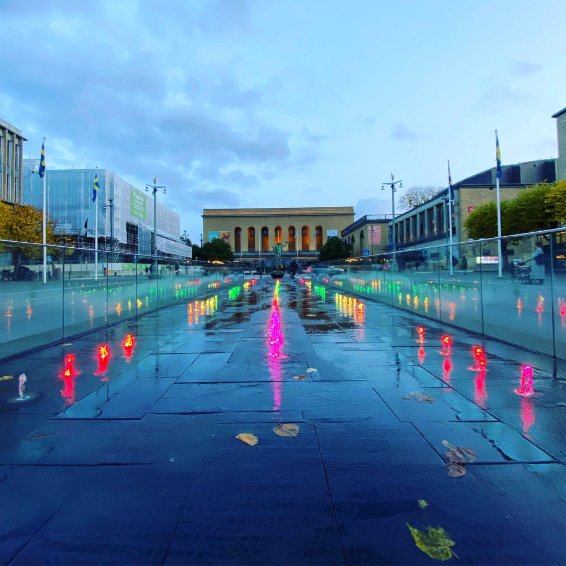Light installation outside of Gothenburg's art museum.