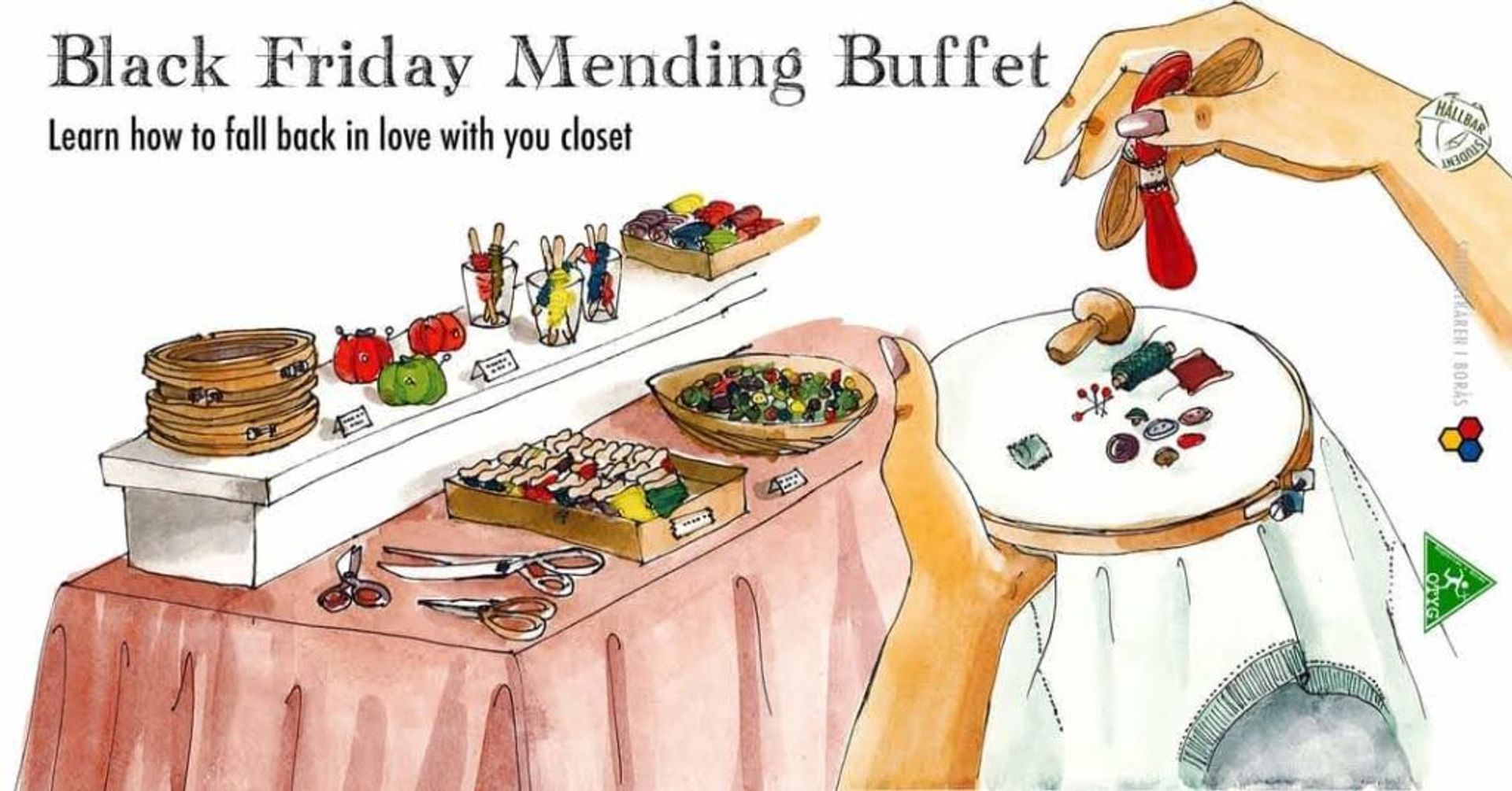 Illustration advertising the Hållbar Student Black Friday Mending Buffet. The text reads 'Black Friday Mending Buffet. Learn how to fall back in love with your closet'.