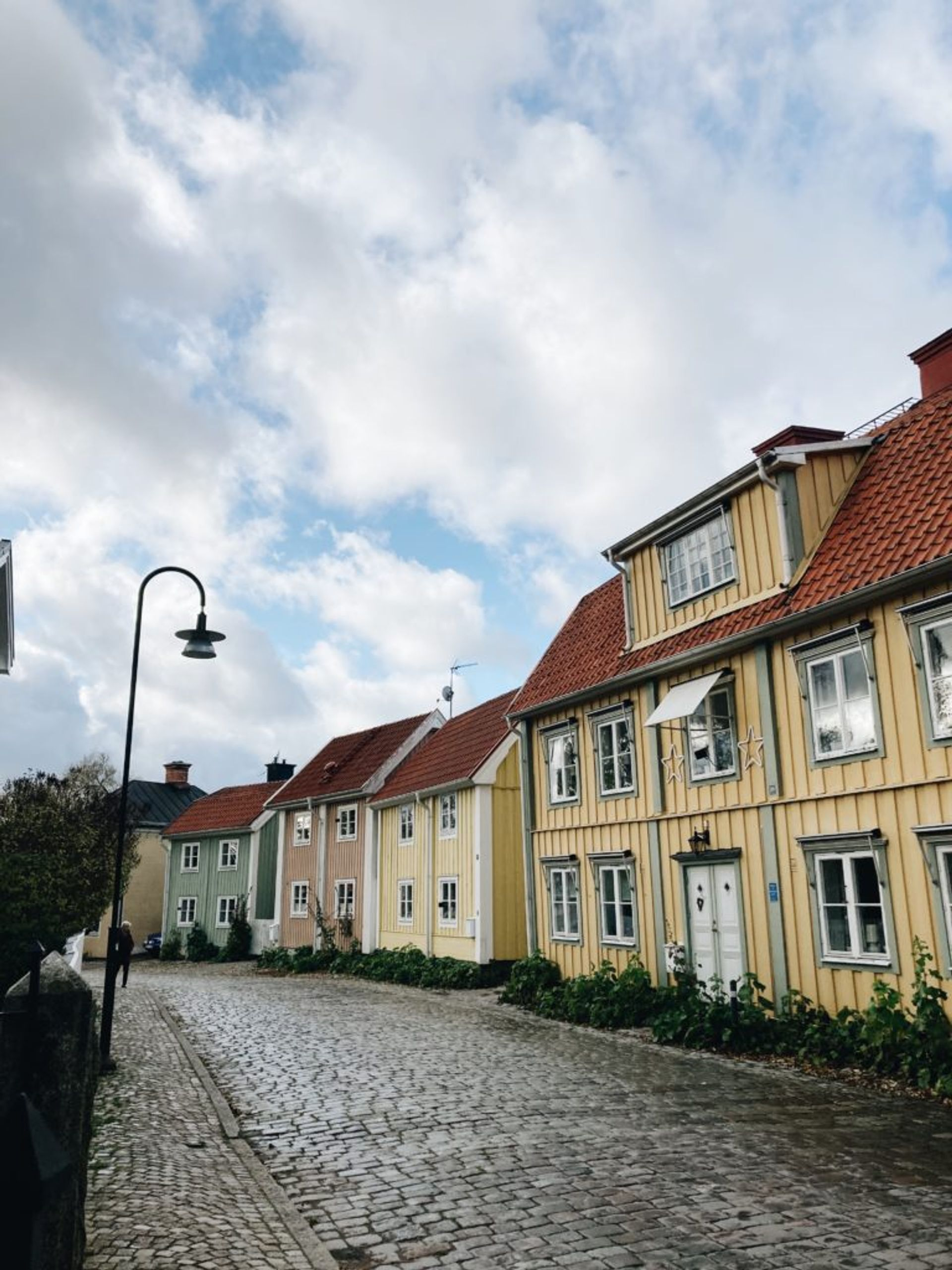a street with small colourful houses