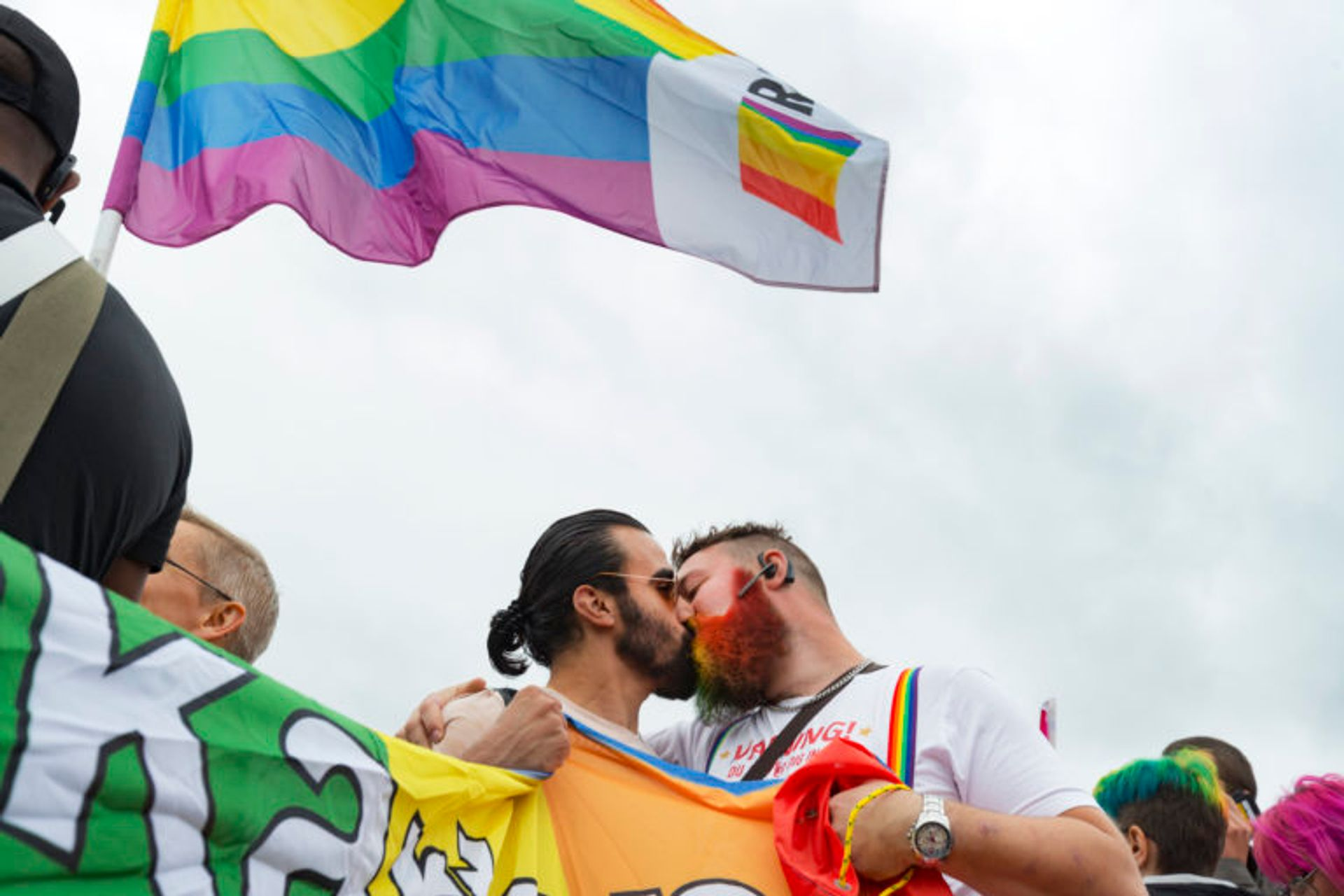Two men kiss at Pride festival in Gothenburg