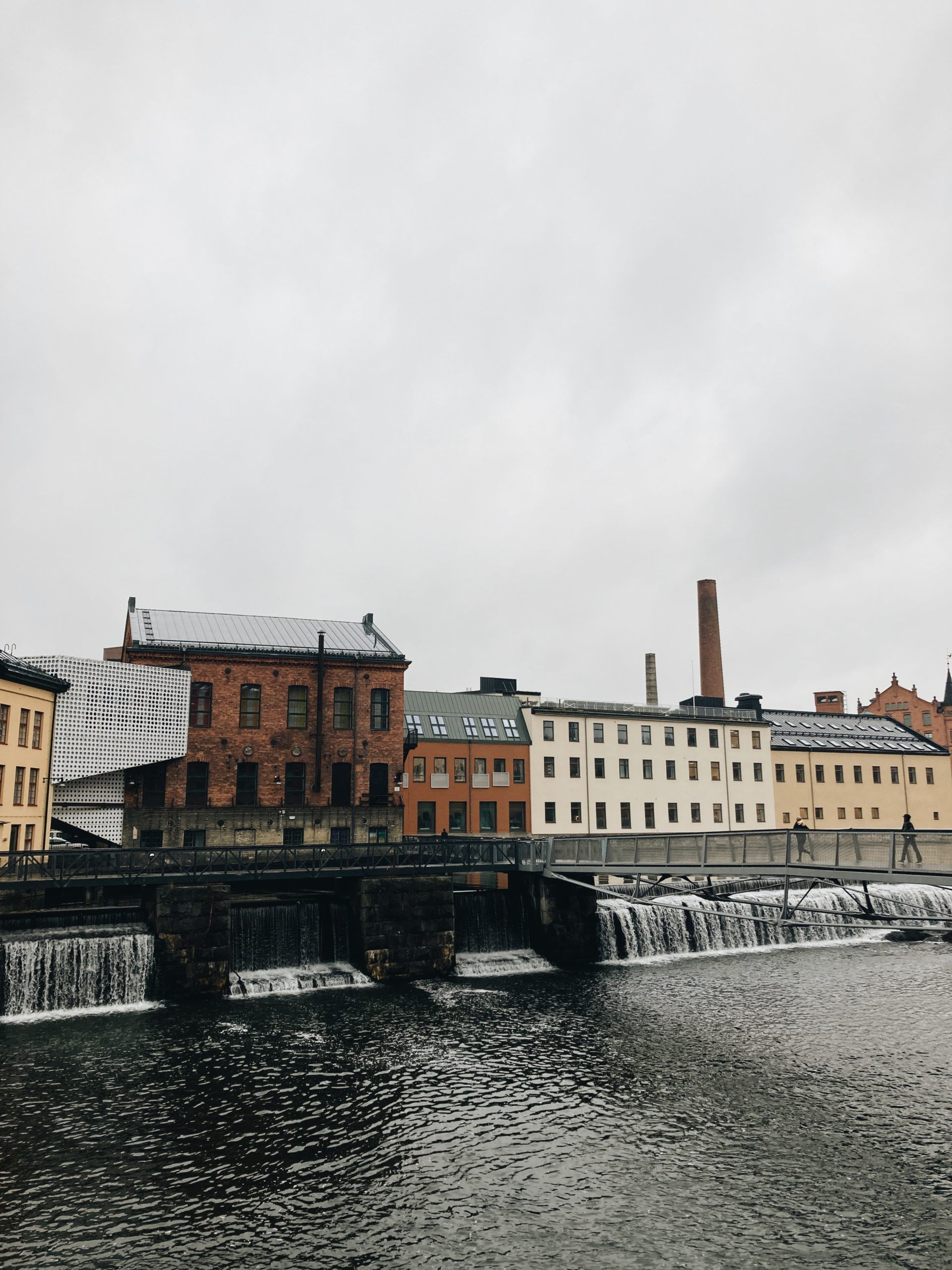 Campus Norrköping with waterfall in front
