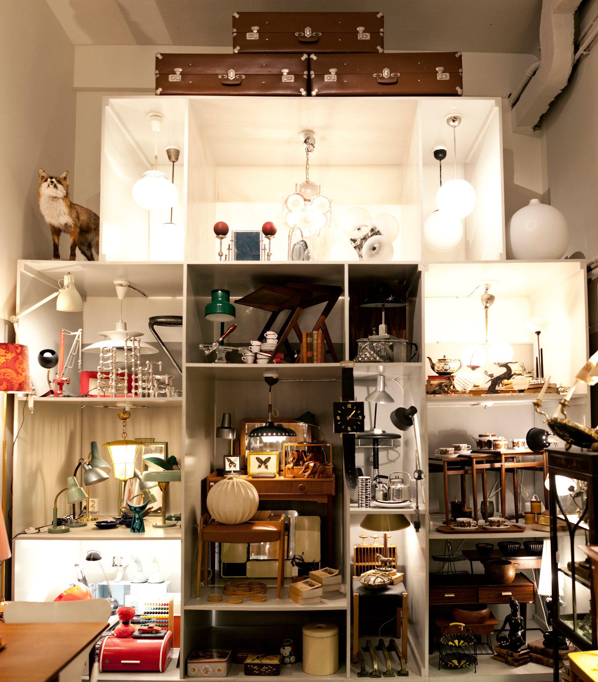 Furniture in a vintage shop.
