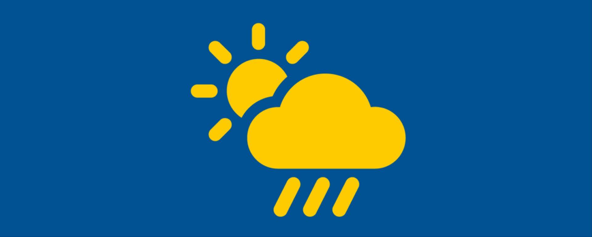 Photo showing illustration of sun, cloud and rain