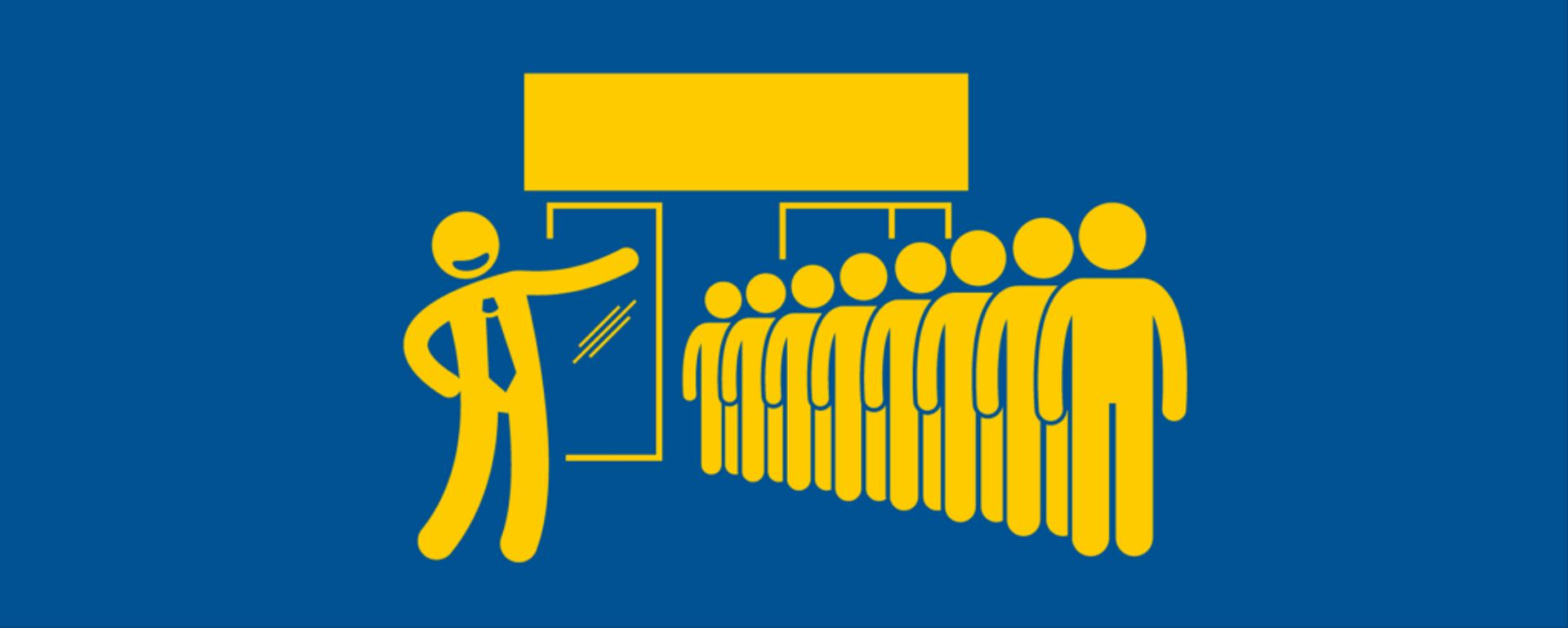 Picture showing an illustration of people queuing