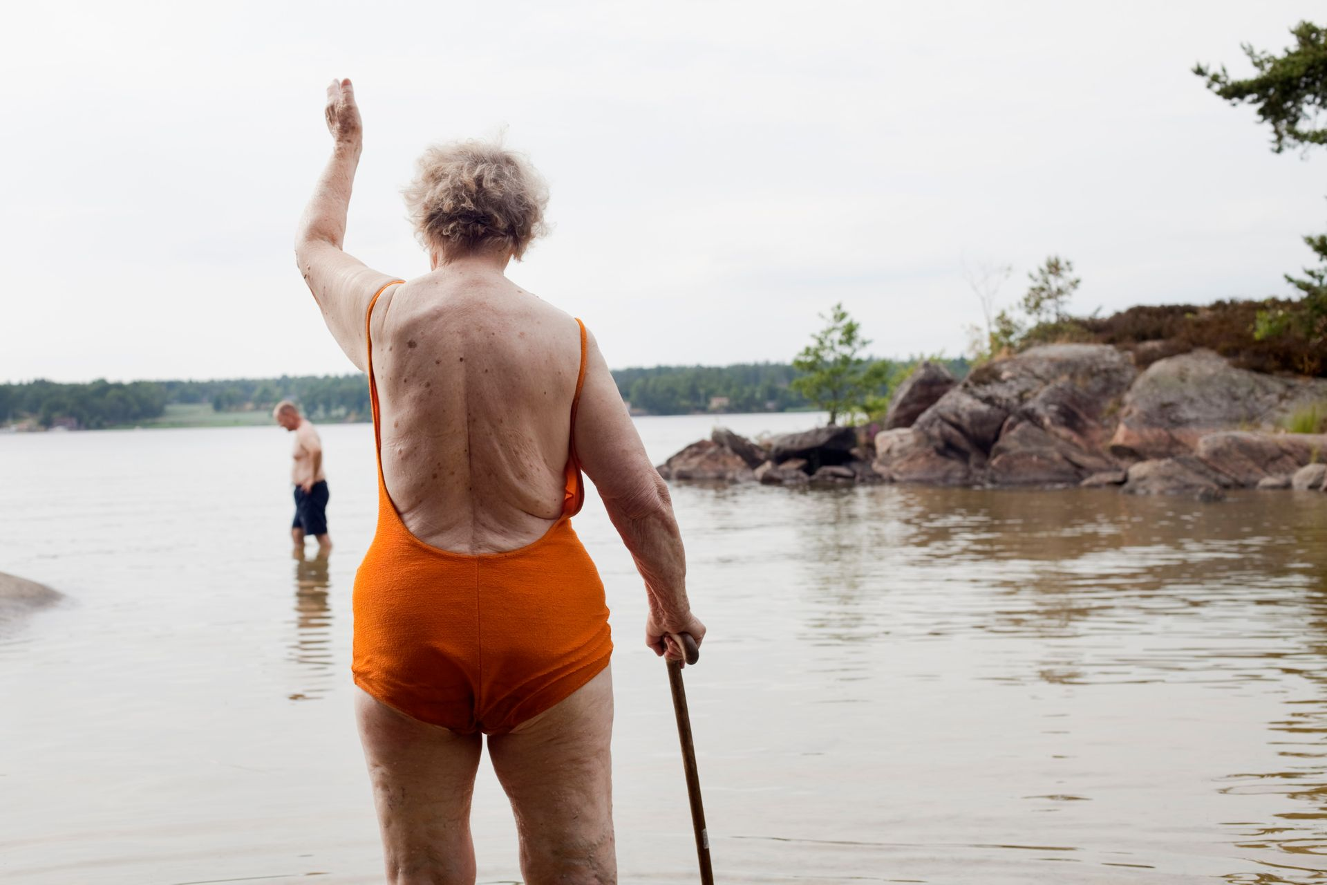 Senior citizens in a lake