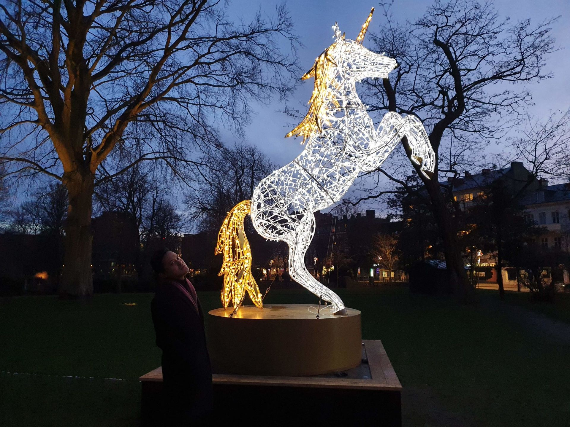 A light sculpture of a unicorn with white lights and a golden tail, mane and horn
