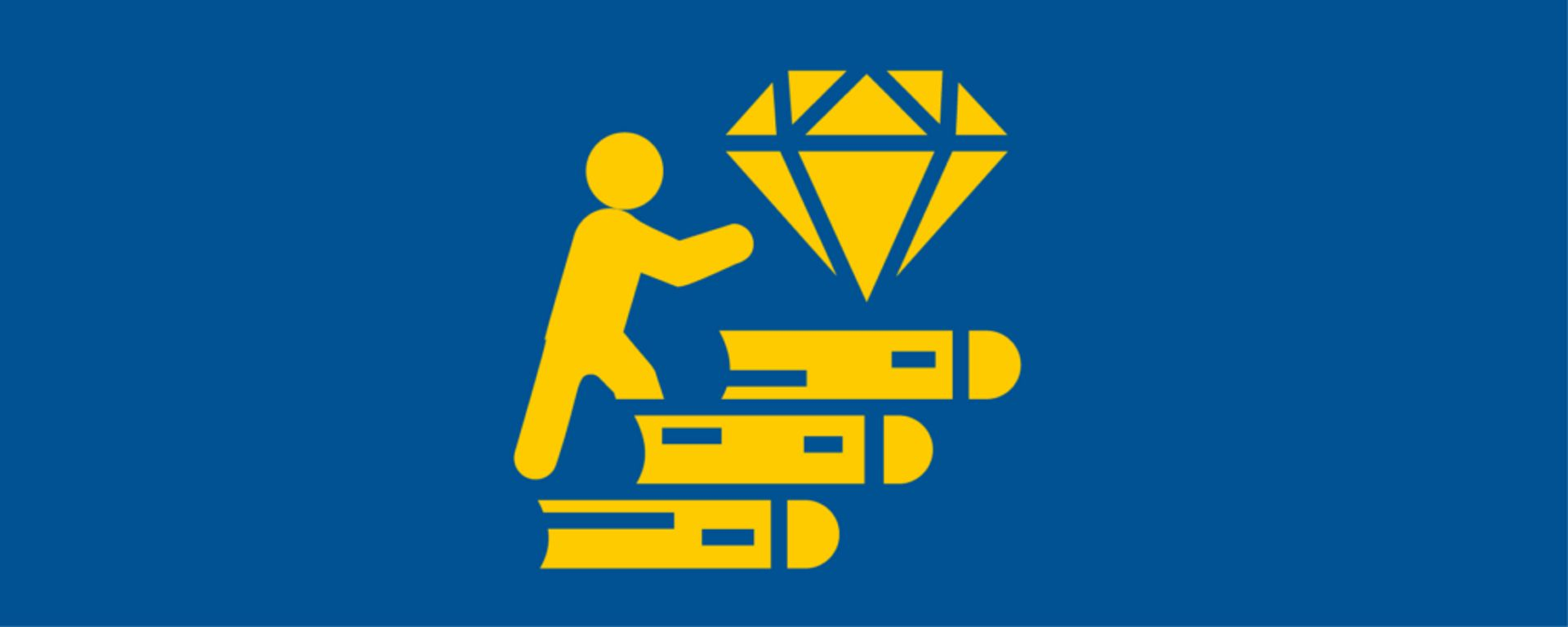 Illustration of a person walking on books towards a diamond symbolizing success