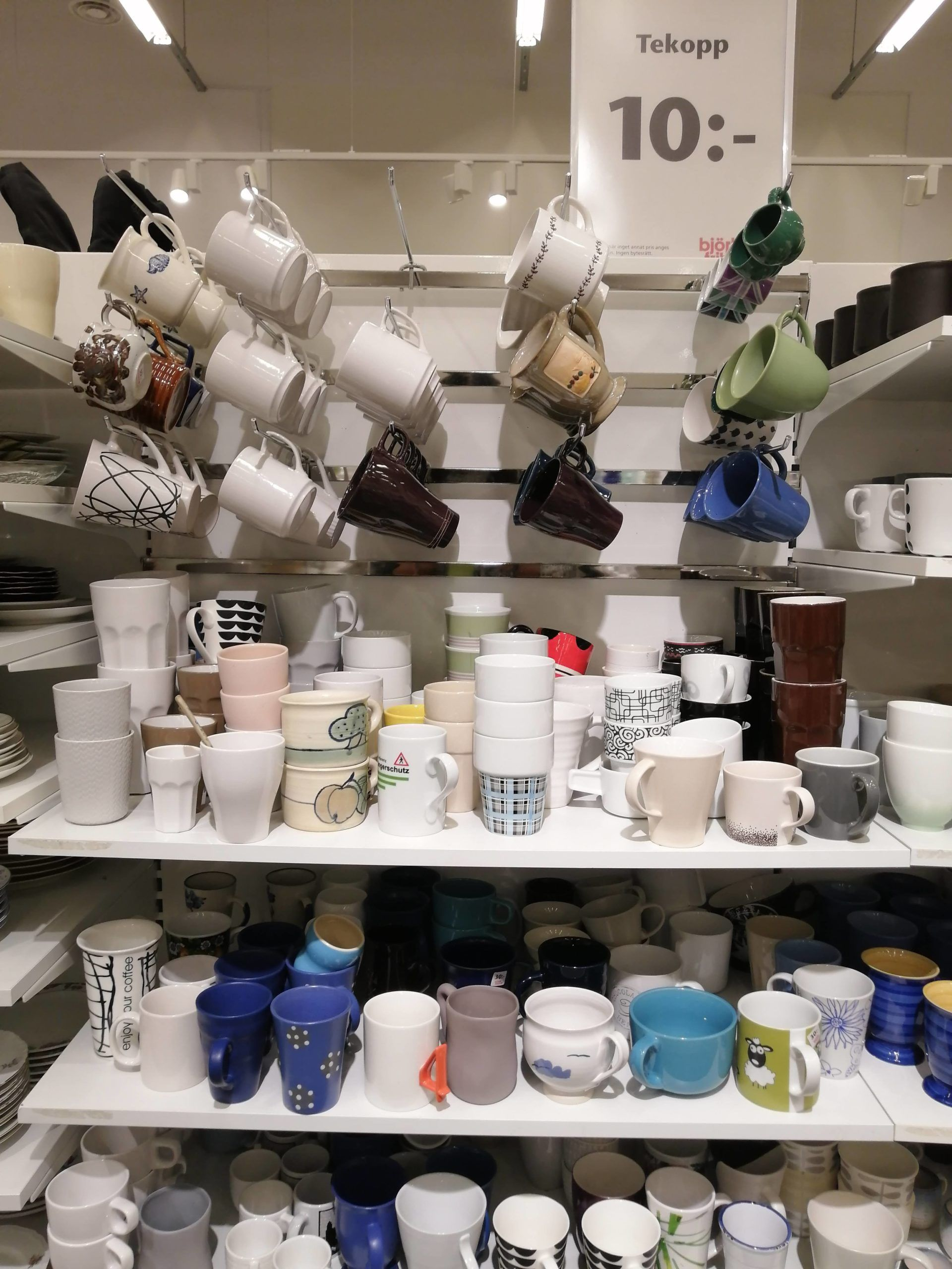 A display of mugs and teacups