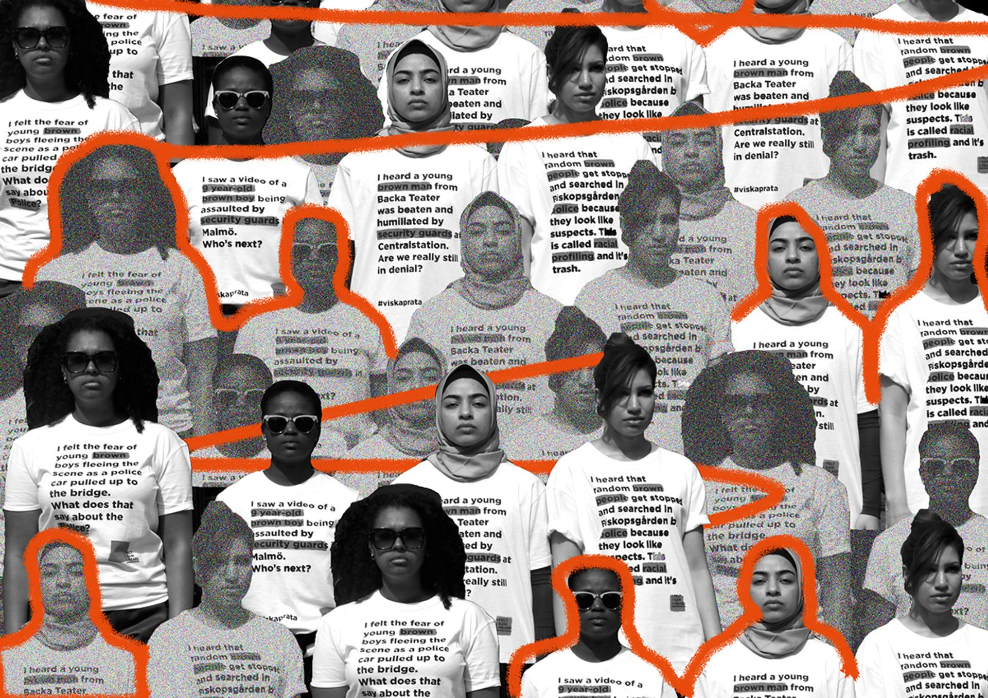 a black and white collage of people wearing T shirts with orange line drawing along the collage