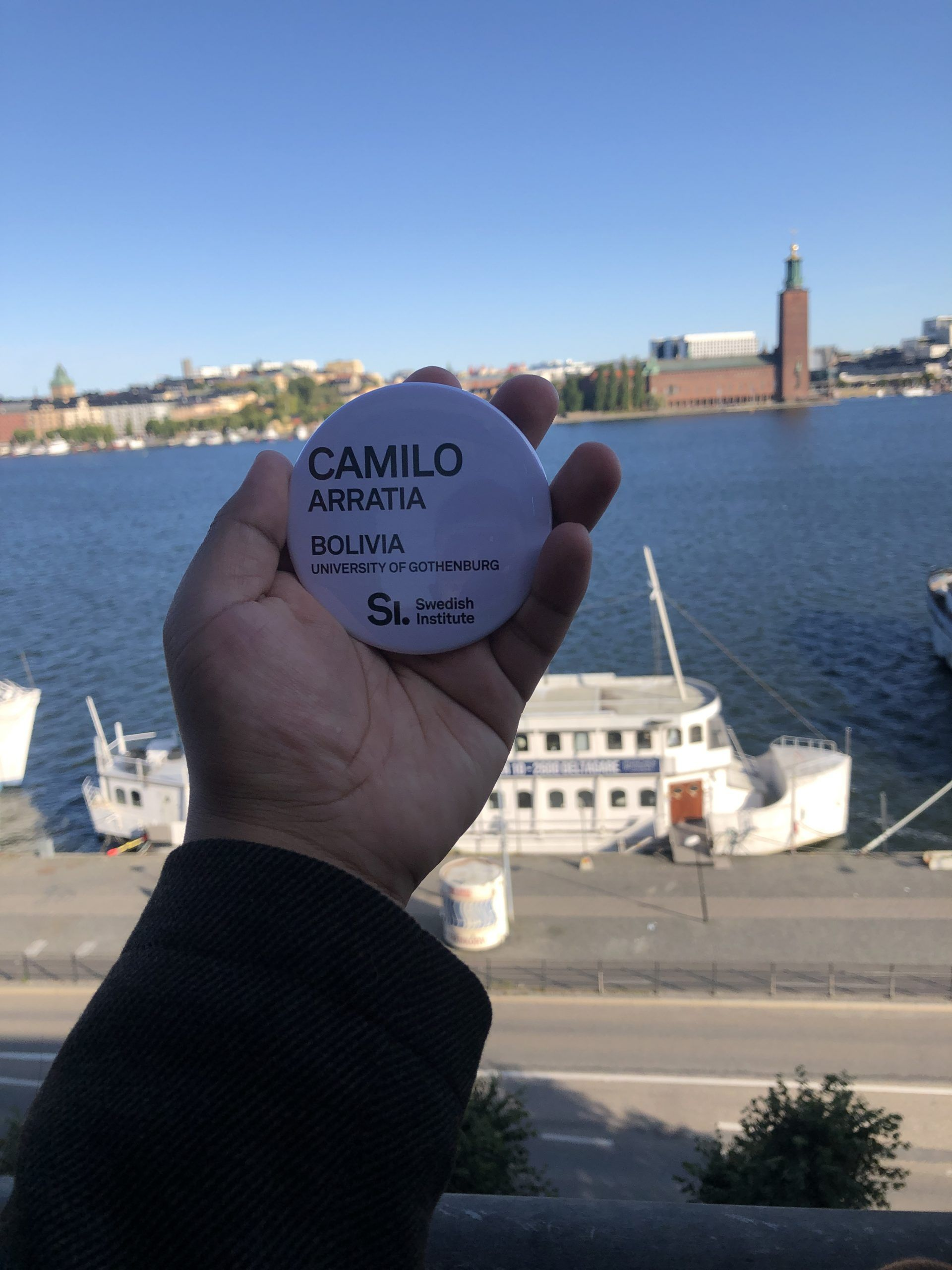 A sticker in front of the stockholm skyline