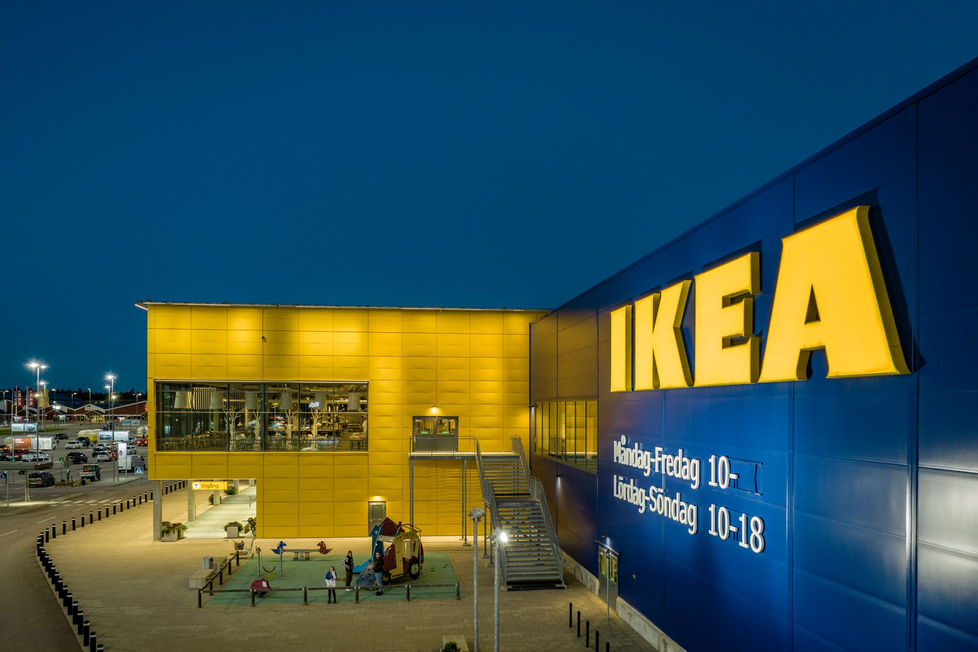 A large building in blue and yellow with IKEA written on it.